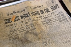 The front page of the San Francisco Examiner's April 24,1929 issue is seen at the Point Reyes National Seashore headquarters in Point Reyes Station, Calif. on Monday, Oct. 29, 2018. (Alan Dep/Marin Independent Journal)