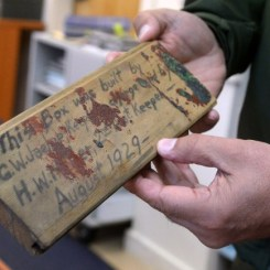A note written on a board in 1929 was found among newspapers discovered during renovation work of the Point Reyes Lighthouse. (Alan Dep/Marin Independent Journal)